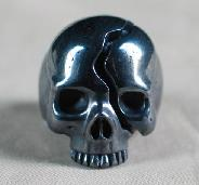 Hematite Carved Crystal Skull Ring, Size 9