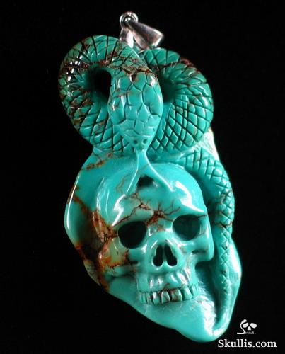 Turquoise Crystal Skull and Snake Pendant
