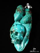 Turquoise Carved Crystal Skull and Snake Pendant