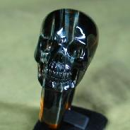 Tiger' Eye Carved Crystal Skull, Size 10 1/2