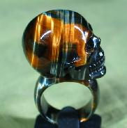 Tiger' Eye Carved Crystal Skull Ring, Size 9