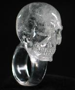 Clear Quartz Rock Crystal Carved Crystal Skull Ring, Size 9
