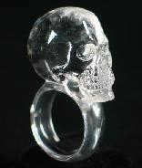 Clear Quartz Rock Crystal Carved Crystal Skull Ring, Size 10