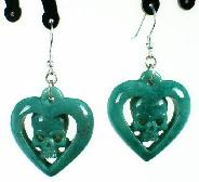 Chrysoprase Carved Crystal Skull Earring