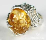 Citrine Carved Crystal Skull with sterling silver Ring, Size 8