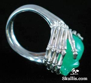 Chrysoprase Skull with sterling silver Bones Ring