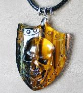 "2.3"" Tiger Iron Eye Carved Crystal Skull Pendant"