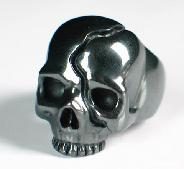 Hematite Carved Crystal Skull Ring, Size 9 1/2