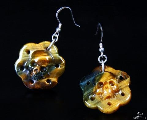Tiger Eye Crystal Skull Earring