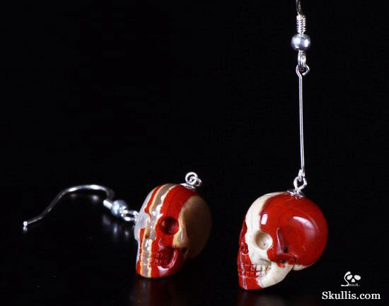 Red Jasper Crystal Skull Earring