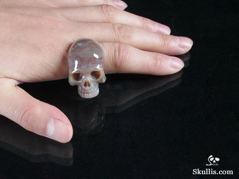 Petrified Wood Crystal Skull Ring