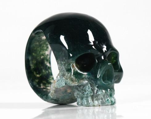 Green Moss Agate Crystal Skull Ring