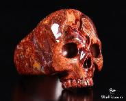 Red Pietersite Carved Crystal Skull Ring, Size 11 1/2
