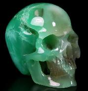 "2.6"" Chrysoprase Carved Crystal Skull, Super Realistic"