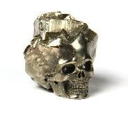 "Metalic luster 1.1"" Pyrite Carved Crystal Druse Skull"