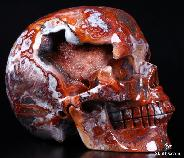 Sept 23, 2014 ACSAD (A Crystal Skull a Day) - The Mind's I - Red Crazy Lace Agate Geode Carved Crystal Skull Sculpture