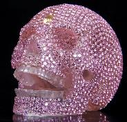 "4.2"" Quartz Rock Crystal Carved Crystal Skull, with Cubic Zirconia"