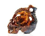 "1.3"" Pietersite Carved Crystal Skull Pendant with Bones"