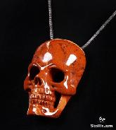 Red Jasper Carved Crystal Skull Pendant