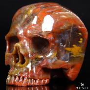 "4.7"" Petrified Wood Carved Crystal Skull, Without Jaw"