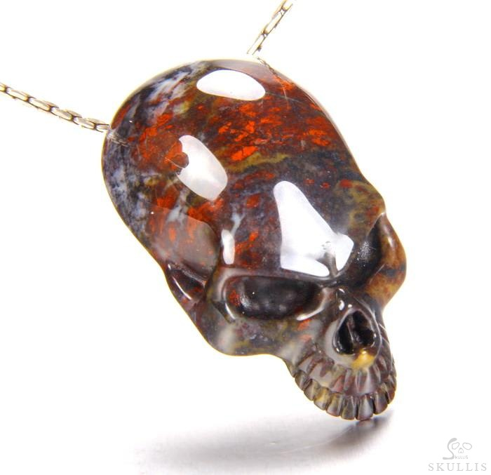 Chinese Bloodstone Crystal Skull Pendant