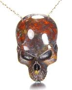 "2.0"" Chinese Bloodstone Carved Crystal Skull Pendant"