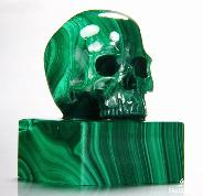 "GEM QUALITY 2.2"" Malachite Carved Crystal Skull Seal"