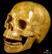 "HUGE 5.2"" Yellow Jasper Carved Crystal Singing Skull"