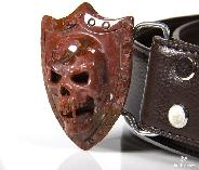 Indian Agate Carved Crystal Vampire Skull Belt with Sterling Silver