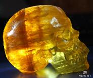 "HUGE 4.5"" Orange Fluorite Carved Crystal Skull, Super Realistic"