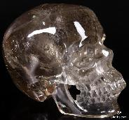 "GIANT 7.2"" Smokey Quartz Rock Crystal Carved Crystal Skull, Super Realistic"