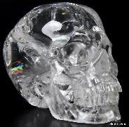 "Rainbows, Clear Huge 5.4"" Quartz Rock Crystal Carved Crystal Skull, Super Realistic"
