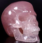 "Top Quality GIANT 8.1"" Pink Rose Quartz Rock Crystal Carved Crystal Skull, Super Realistic"