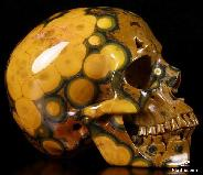 "AMAZING HUGE 5.0"" Ocean Jasper Carved Crystal Skull, Super Realistic"
