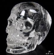 "Transparent! HUGE 4.6"" Quartz Rock Crystal Carved Crystal Skull, Realistic"