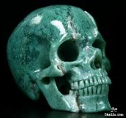 "Gemstone, 2.5"" New Chrysoprase Carved Crystal Skull, Super Realistic"
