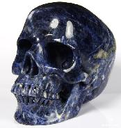 "HUGE 5.0"" Sodalite Carved Crystal Skull, Realistic"