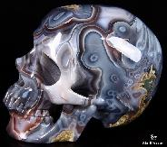 AMAZING UNIQUE HUGE FINE GEMSTONE 5.1 Mozambique Agate Carved Crystal Skull, Super Realistic #4804367