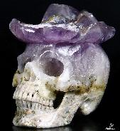 "AMAZING Druse Huge 5.9"" Amethyst Druse Carved Crystal Skull, Super Realistic"