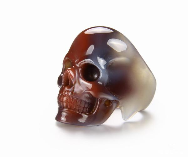 Mozambique Agate Crystal Skull Ring