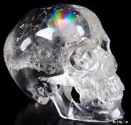 "Rainbows Clear Huge 5.8"" Quartz Rock Crystal Carved Crystal Skull, Super Realistic"