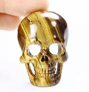 Tiger Iron Eye Carved Crystal Skull Pendant
