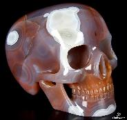 "Fine Gemstone Huge 5.1"" Mozambique Agate Carved Mitchell-Hedges Crystal Skull Replica, Skull of Doom, #4804702"