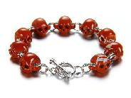 Bracelet of HAND-CARVED Red Jasper Carved Gemstone Skulls with 925 Sterling Silver