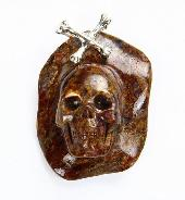 Pietersite Carved Crystal Skull Pendant with Sterling Silver