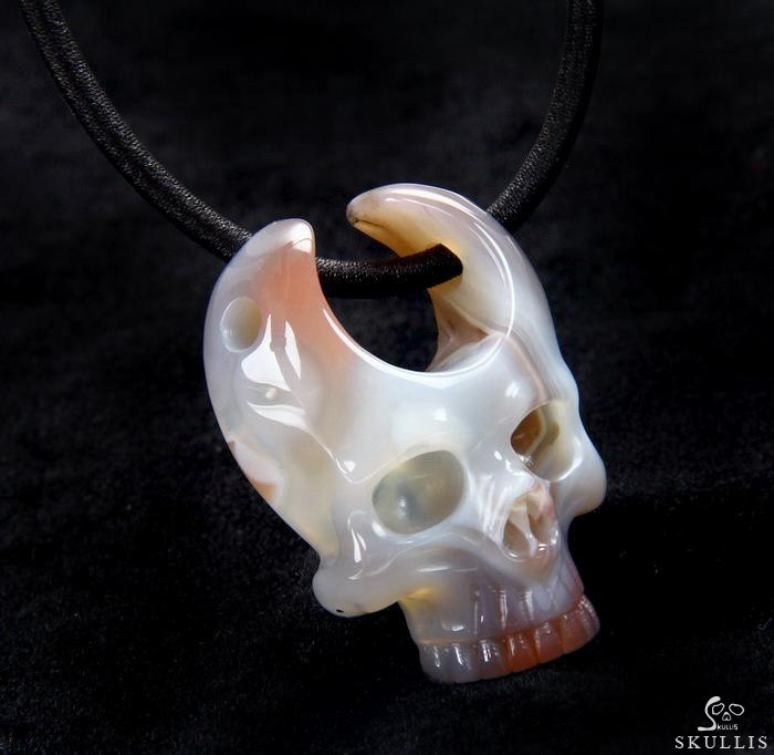 Mozambique Agate Crystal Skull Pendant