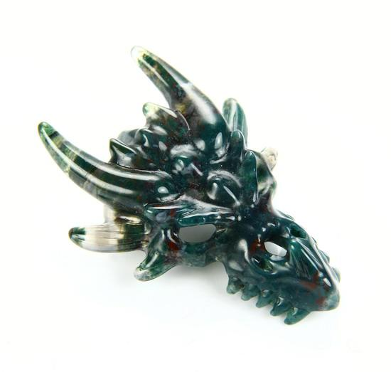 Bloodstone Crystal Dragon Skull Pendant