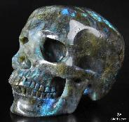 "AMAZING FLASH Giant 7.1"" Labradorite Carved Crystal Skull, Super Realistic"