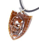 Red Agate Carved Crystal Skull Pendant with Sterling Silver