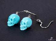 Gemstone Turquoise Carved Crystal Skull Earrings with Sterling Silver